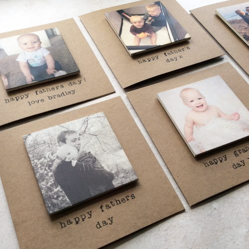Personalised Wooden Photo Magnet Greetings Card - Square