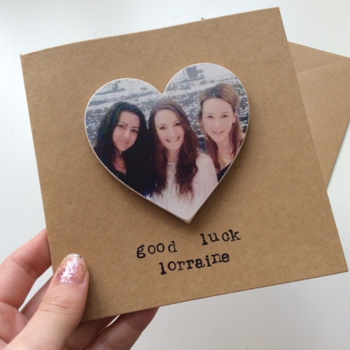 Personalised Wooden Photo Magnet Greetings Card - Heart