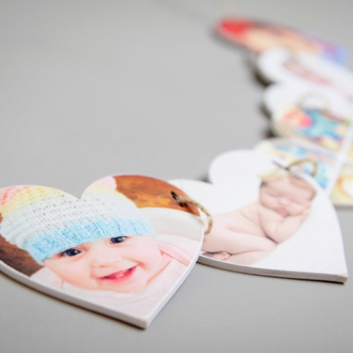 Wooden Photo Heart Bunting