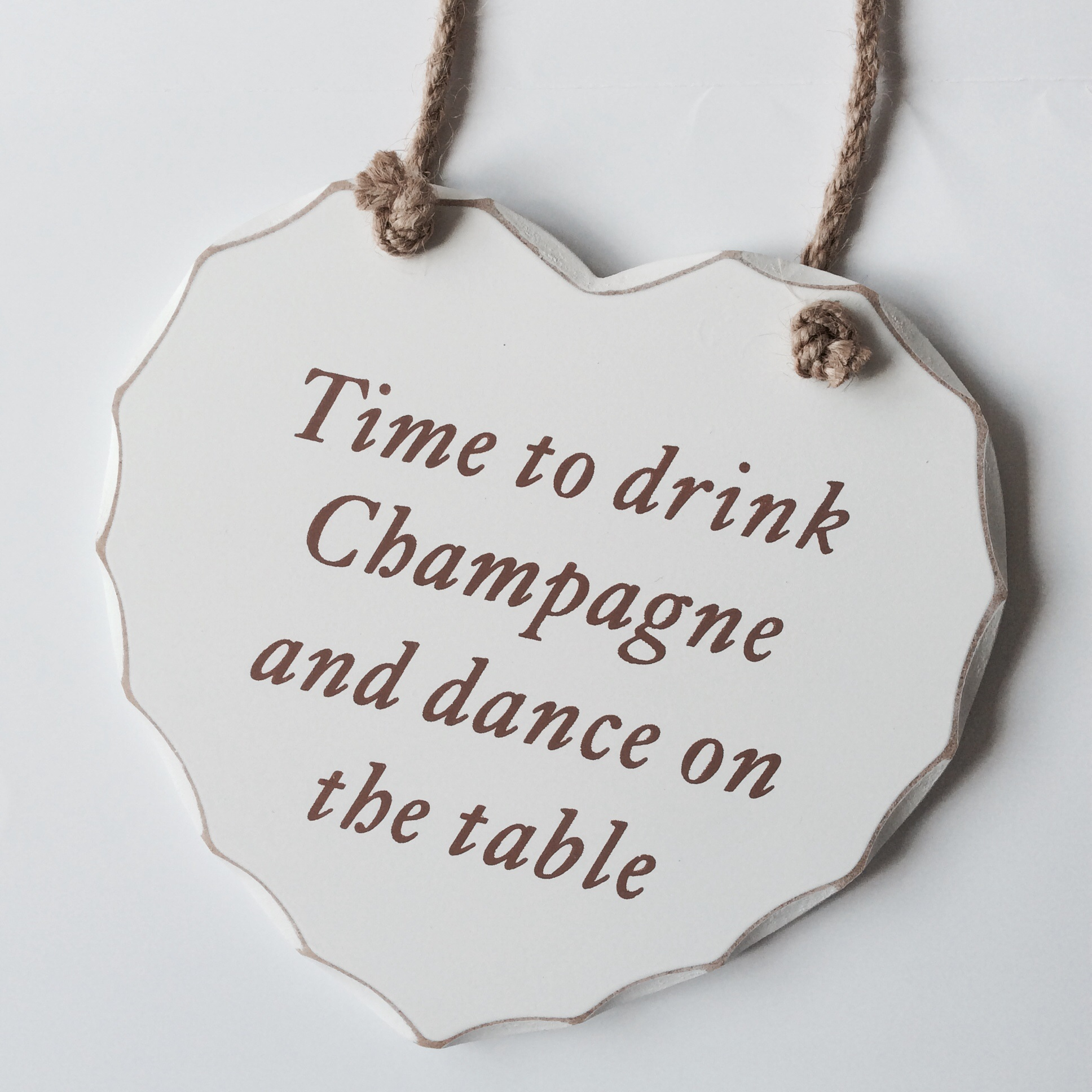 Time to drink champange heart plaque