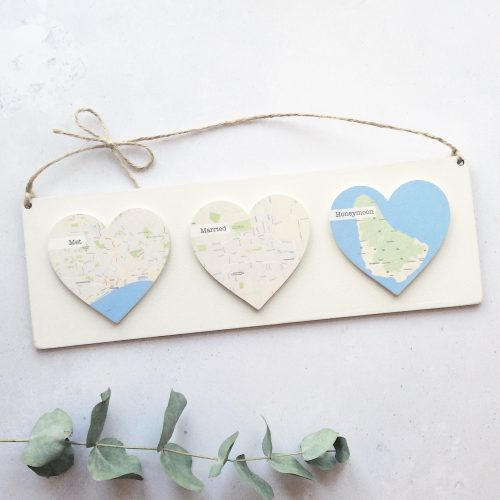 Personalised Wooden Map Hearts Plaque