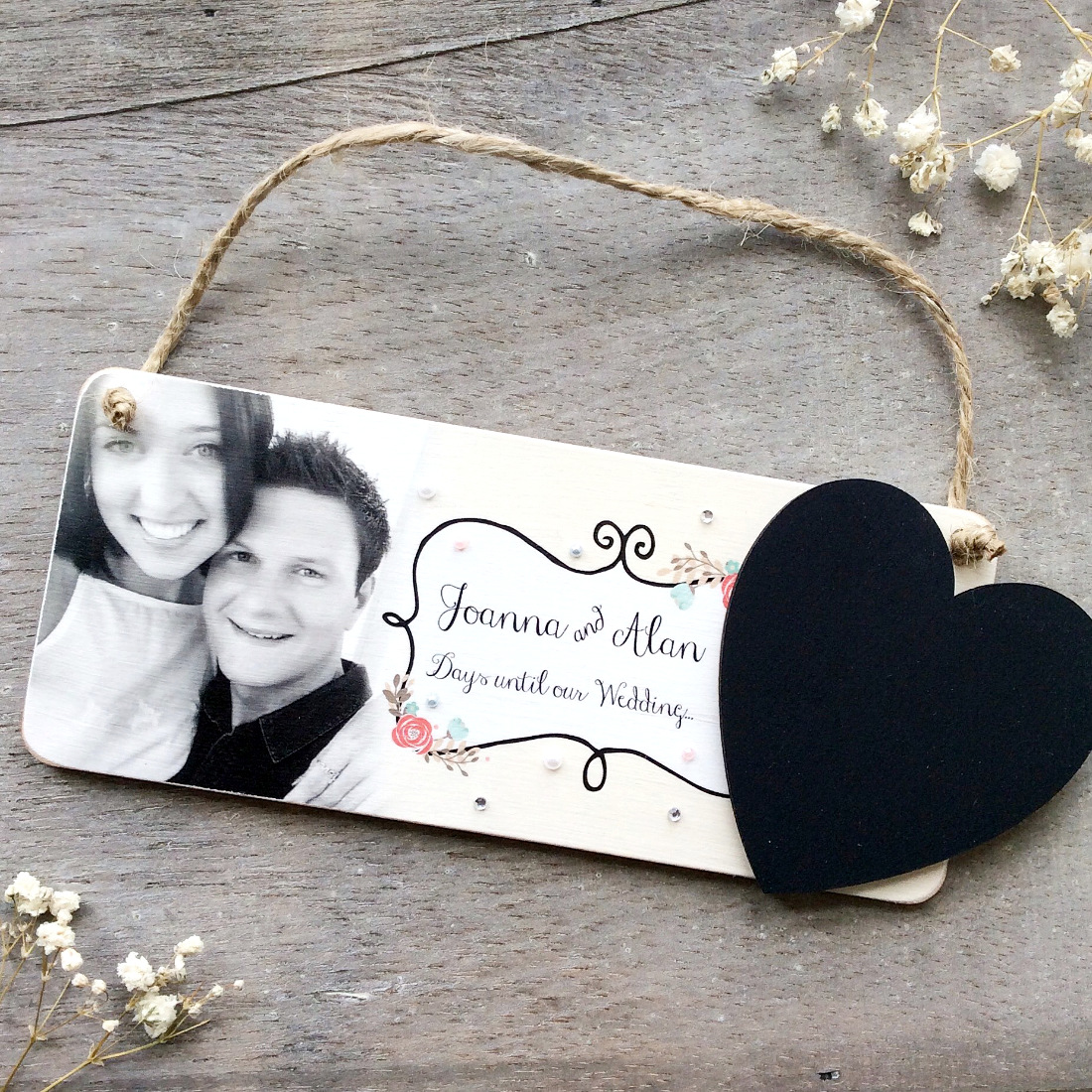 Personalised Wedding Countdown Photo Plaque. Engagement Gift