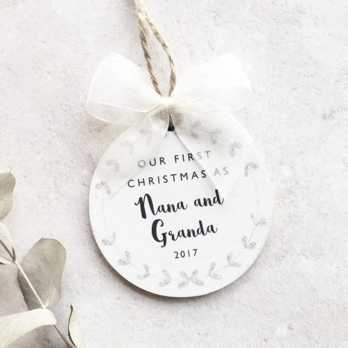 Personalised First Christmas as Grandparents Bauble