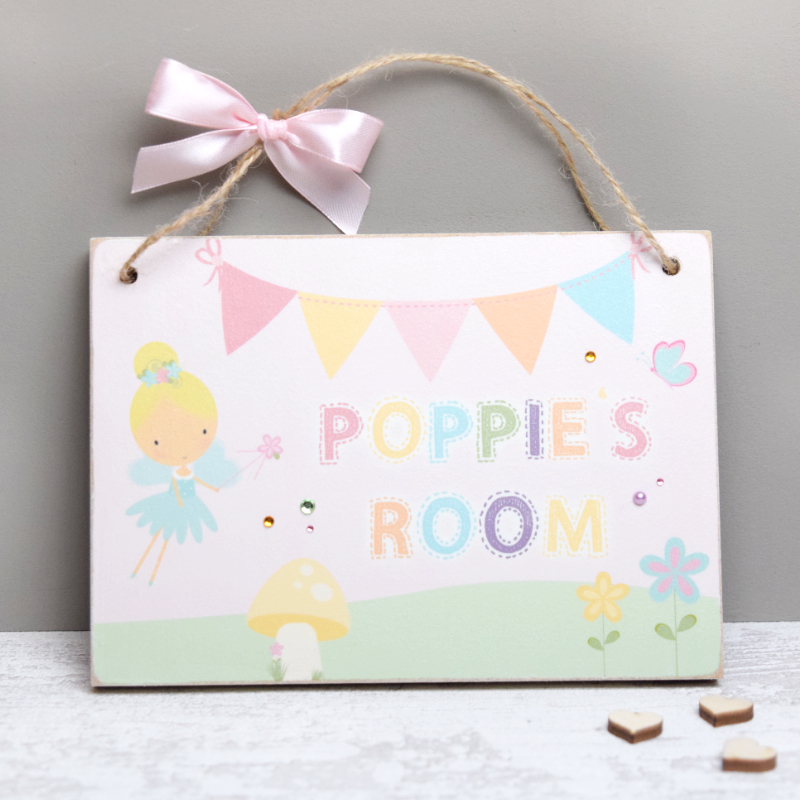 Personalised fairies name room door plaque