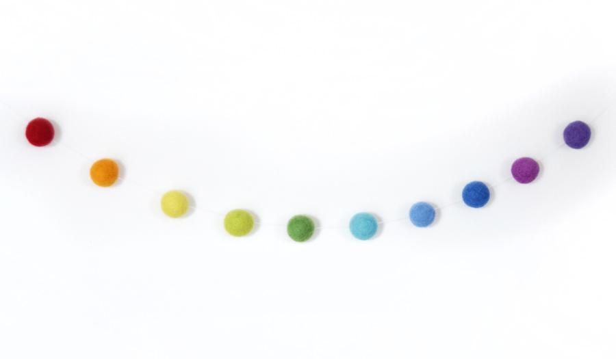 felt ball garland rainbow