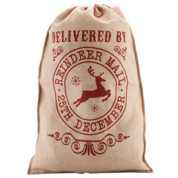 'Delivered By Reindeer Mail' Hessian Santa Sack