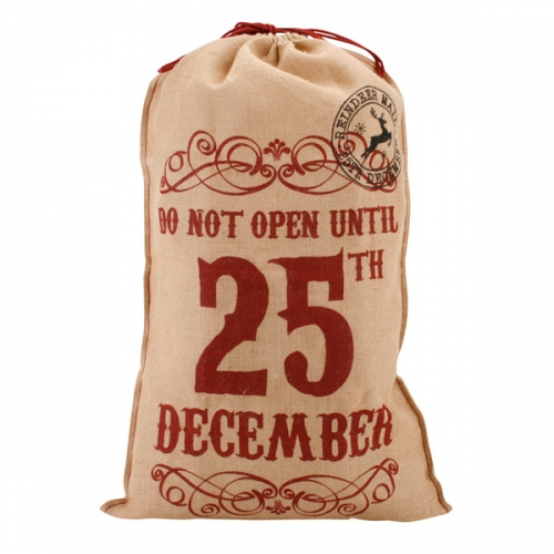 'Do Not Open Until 25th December' Hessian Santa Sack