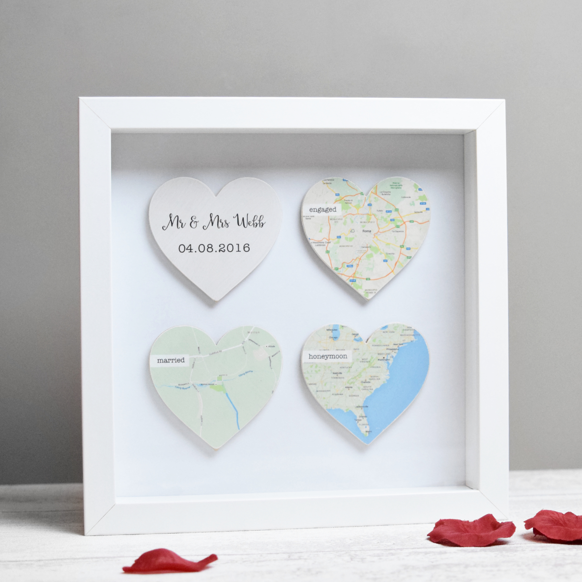 Personalised Wooden Map Hearts Frame. Map hearts