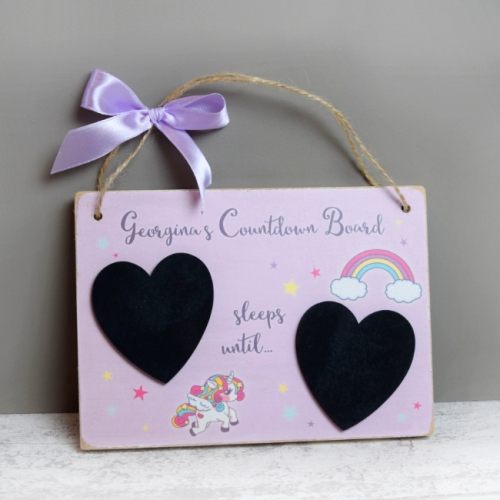 Personalised Countdown Plaque Unicorn