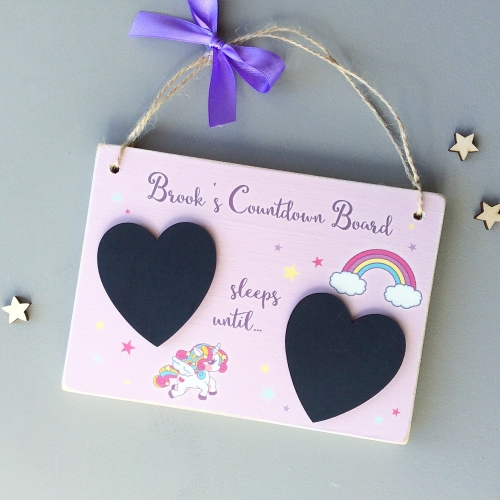 Personalised Countdown Plaque - Unicorns and Rainbows