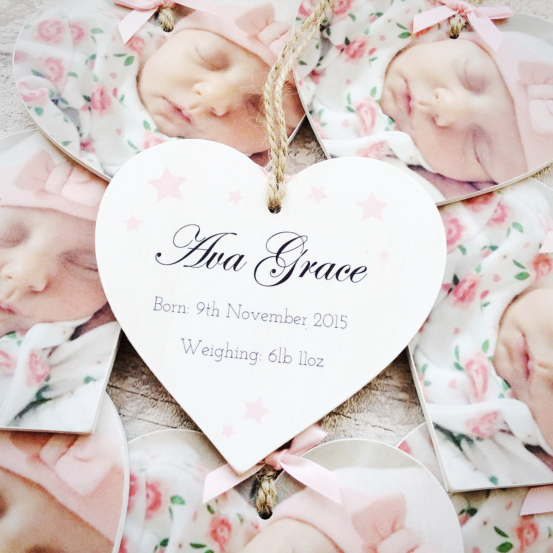 birth announcement photo heart