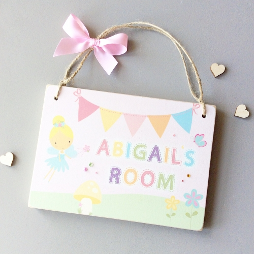 Personalised fairy name room door plaque