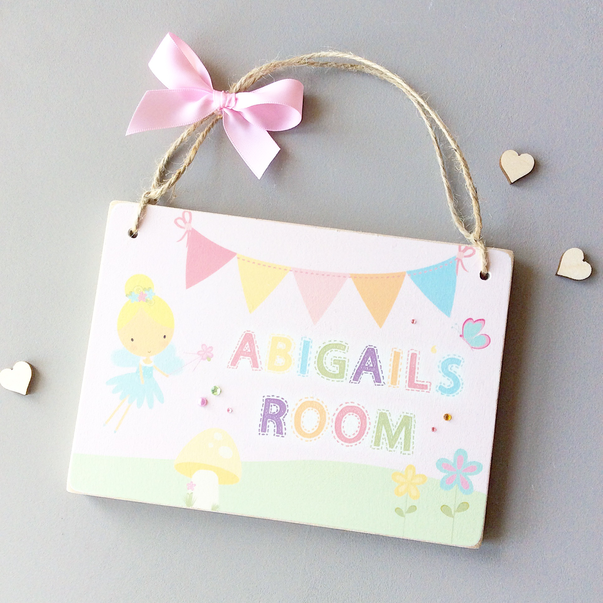 Personalised fairy name room door plaque