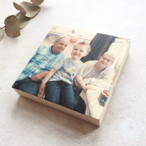 Personalised Wooden Photo Block - Natural wood