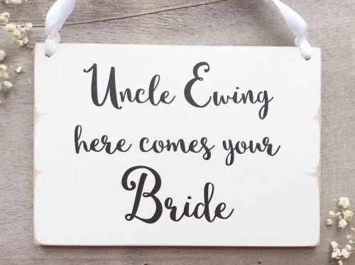 Personalised Here comes your Bride Wooden Wedding Plaque