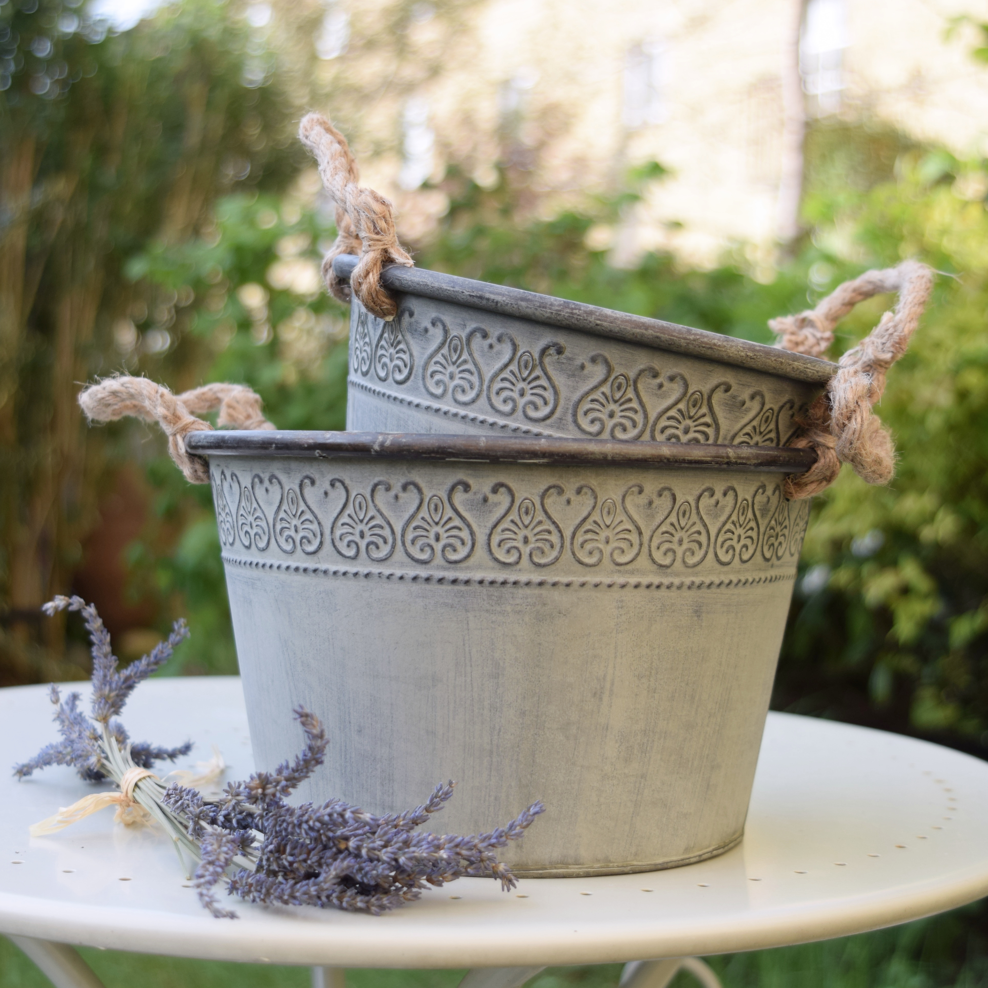 Set of 2 Patterned Zinc Planters