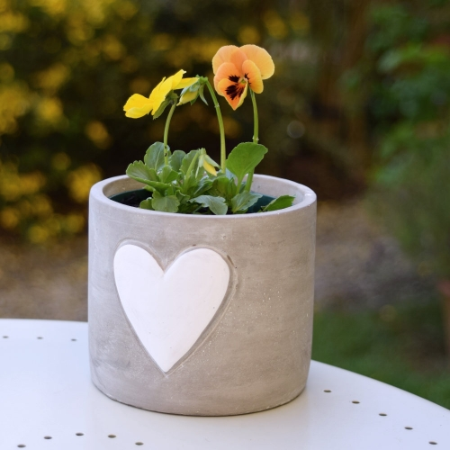 Whitewash Plant Pot with Heart