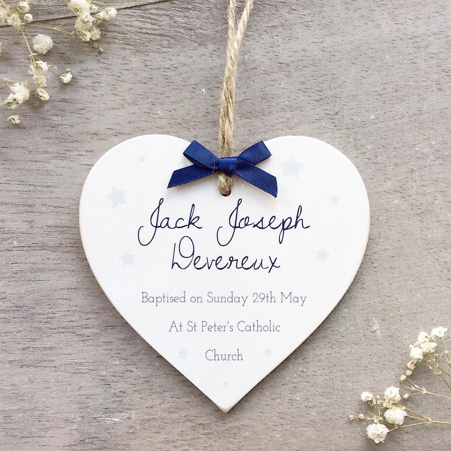 Personalised Christening Details Heart