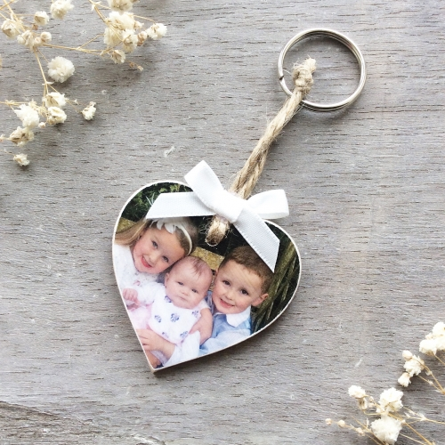 Wooden Photo Heart Keyring