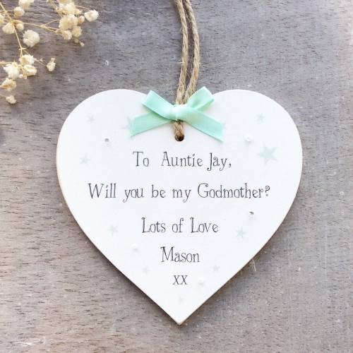 "'Will you be my Godparent"" Personalised Heart"