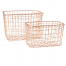 Set of 2 Wire Mesh Rectangular Baskets Copper