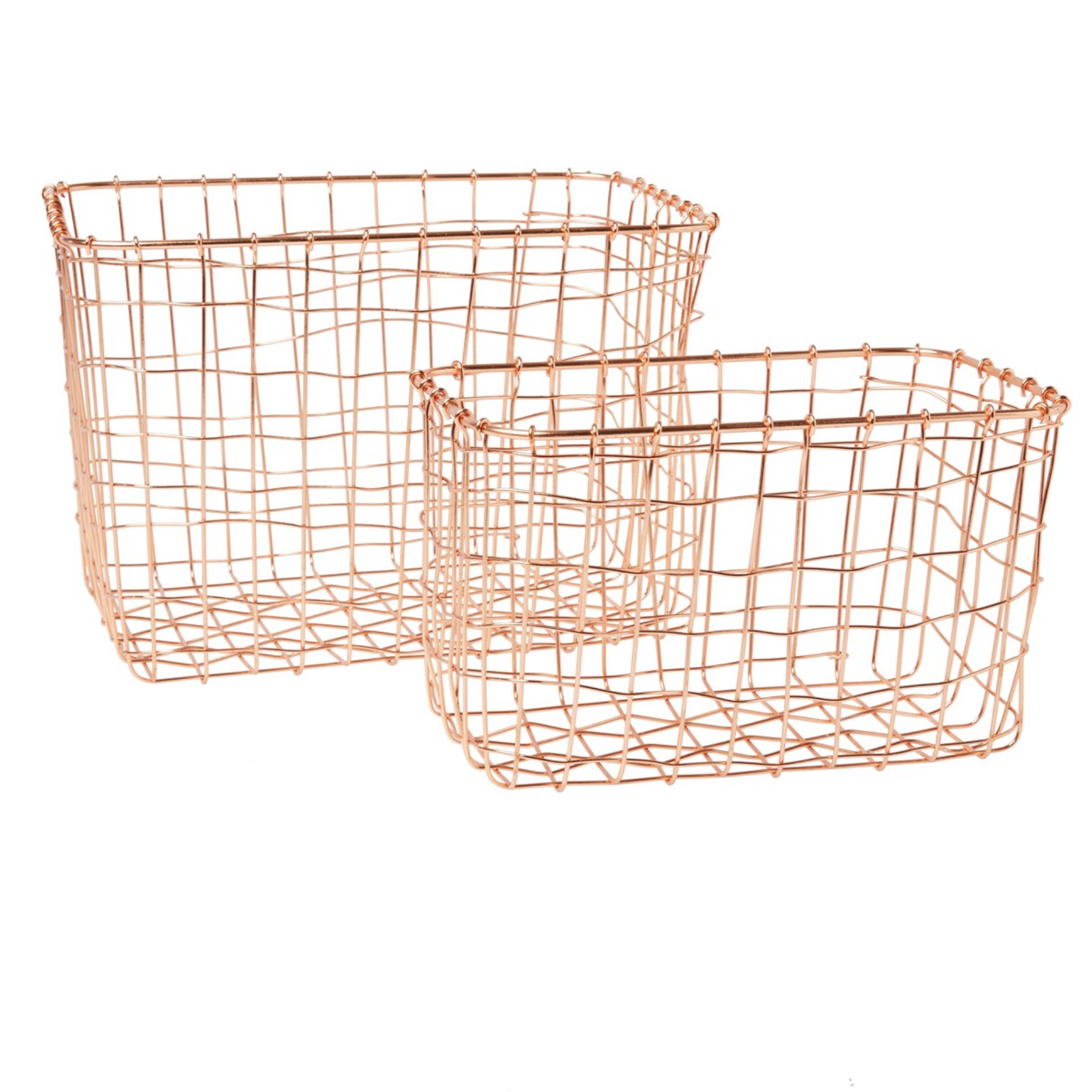 Set of 2 Wire Baskets Copper - Laura Godbold Design