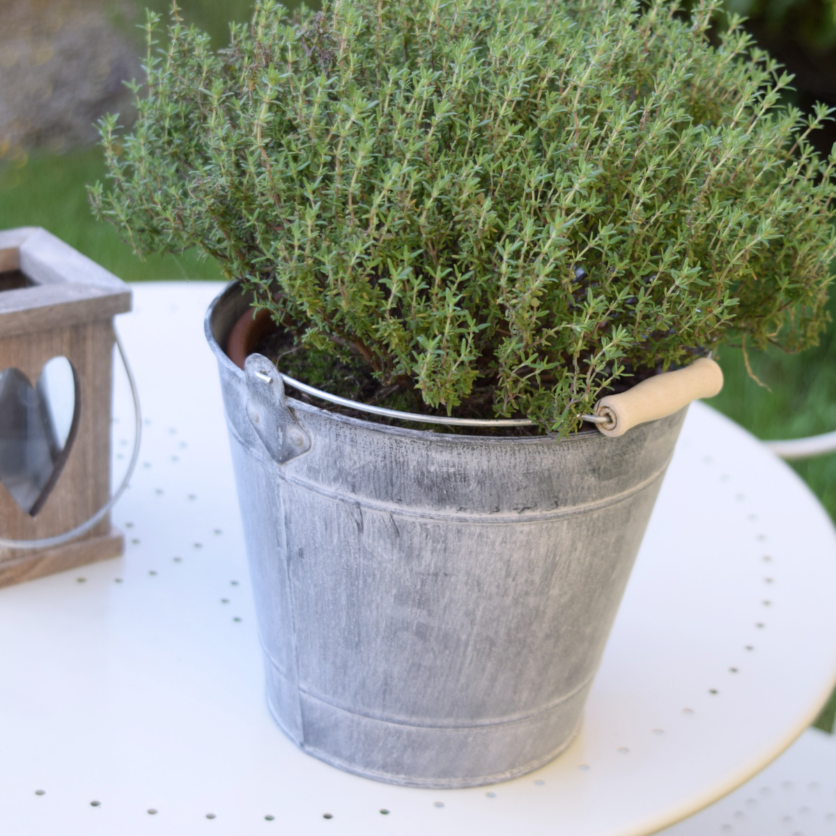 Greywashed Zinc Bucket