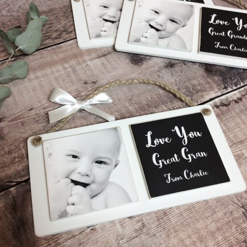2 Tile Wooden Photo Plaque