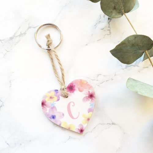 Personalised initial floral keyring