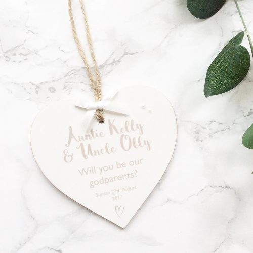Personalised 'Will you be my Godparent' Wooden Heart