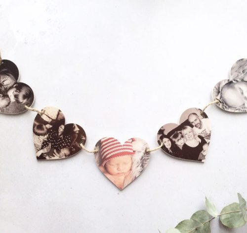 Personalised Wooden Photo Heart Bunting