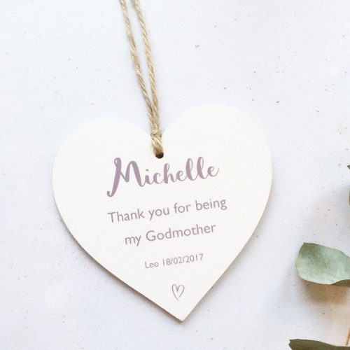 Personalised Thank you Wooden Christening Heart