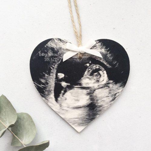 Baby Scan Wooden Keepsake Heart