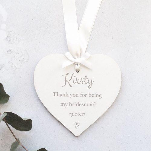Personalised Wedding Thank You Bridesmaid Hearts