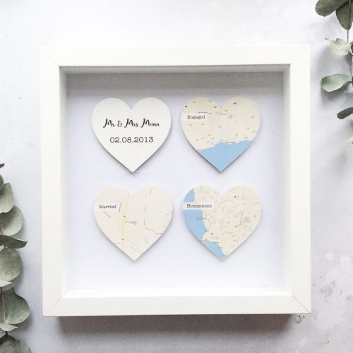 Personalised Wooden Map Hearts Frame