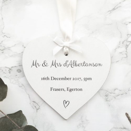 Personalised Wedding Details Heart