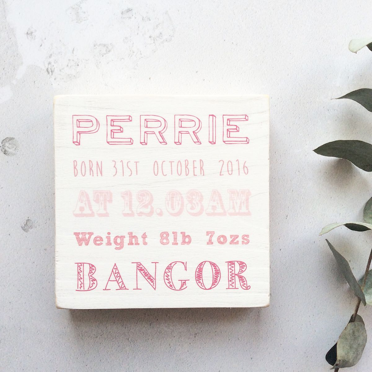 Baby Birth Details Personalised Wooden Block