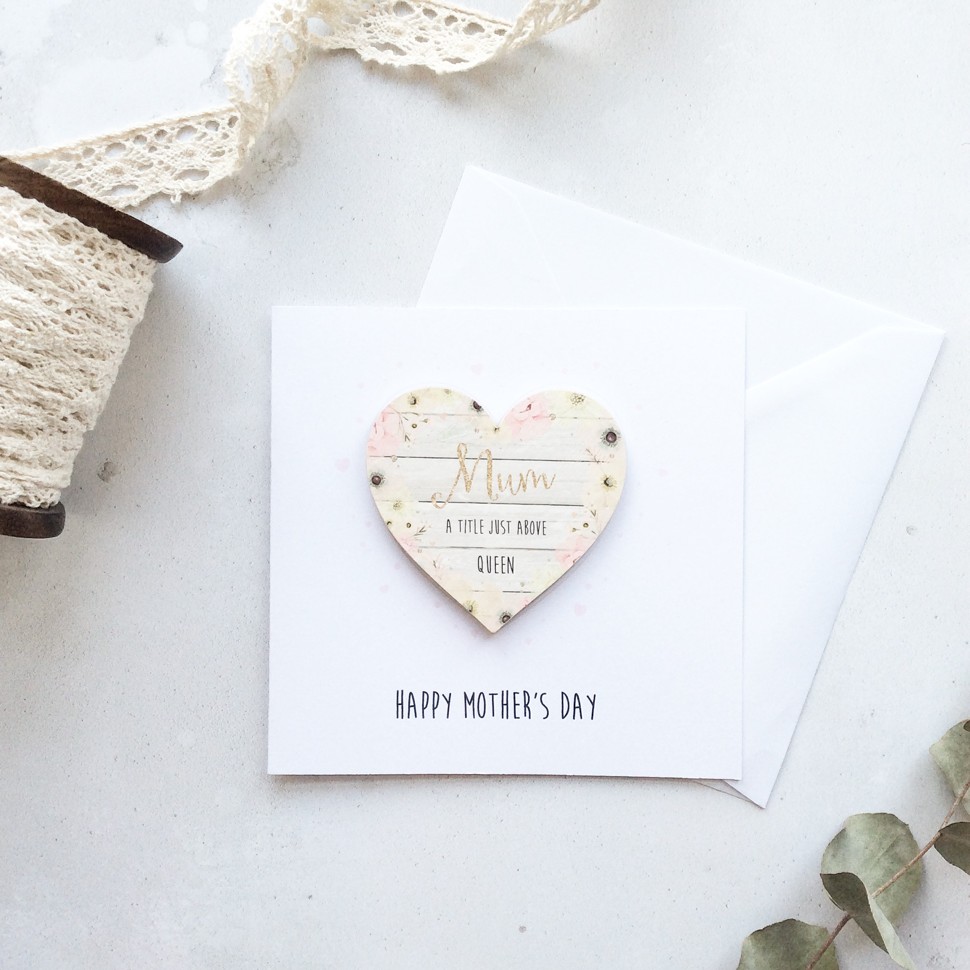 Personalised Wooden Floral Heart Magnet Greetings Card