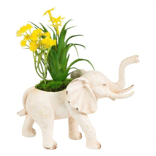 Rustic Elephant Decoration with Flowers
