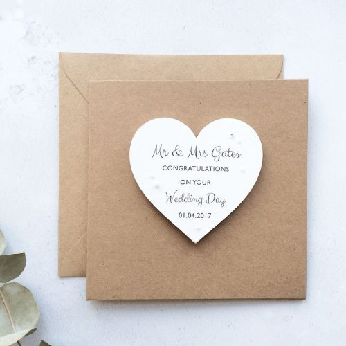 Personalised Wedding Wooden Magnet Greetings Card