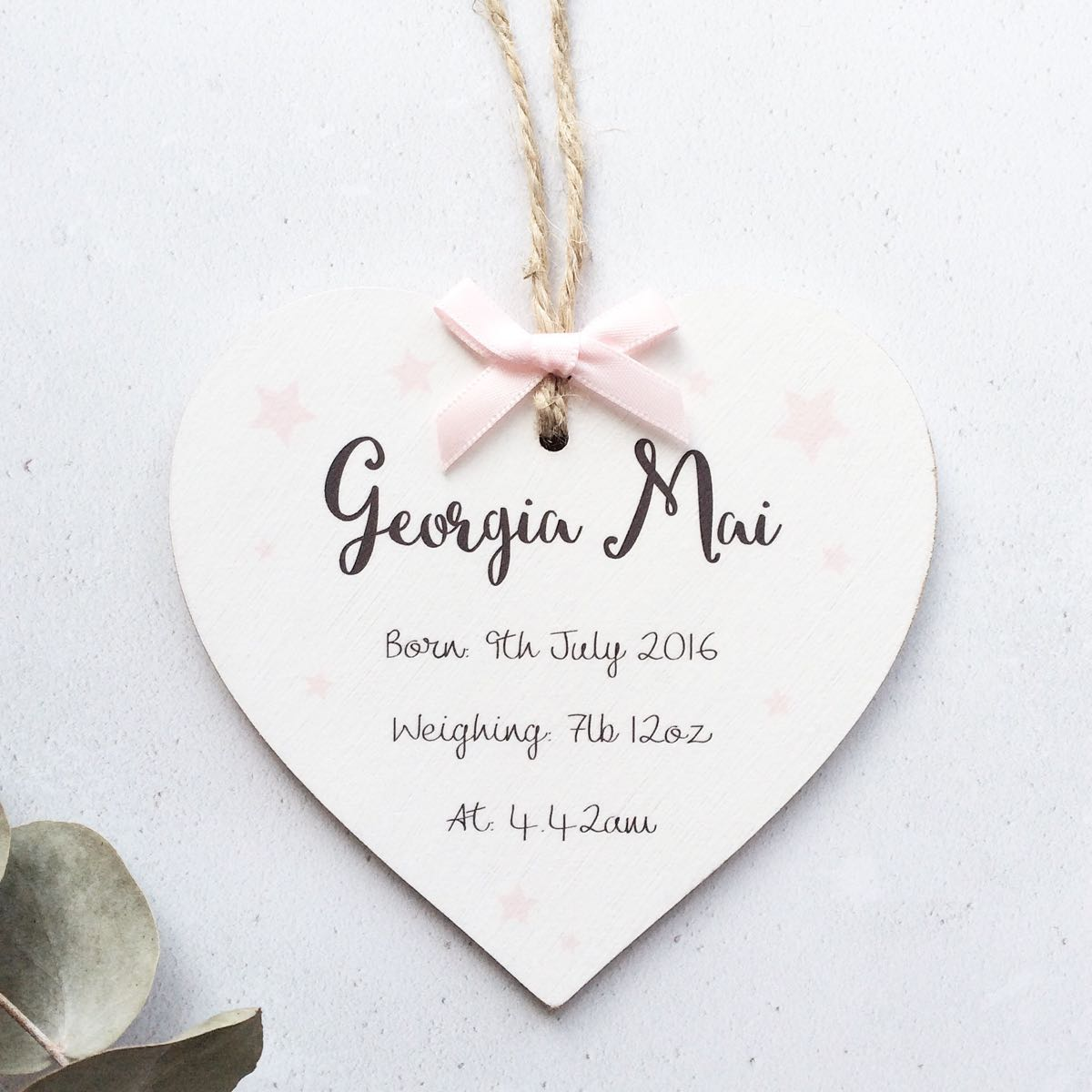Personalised Baby Birth Details Heart