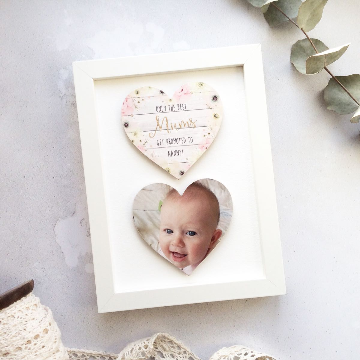 Personalised Double Wooden Photo Heart Frame