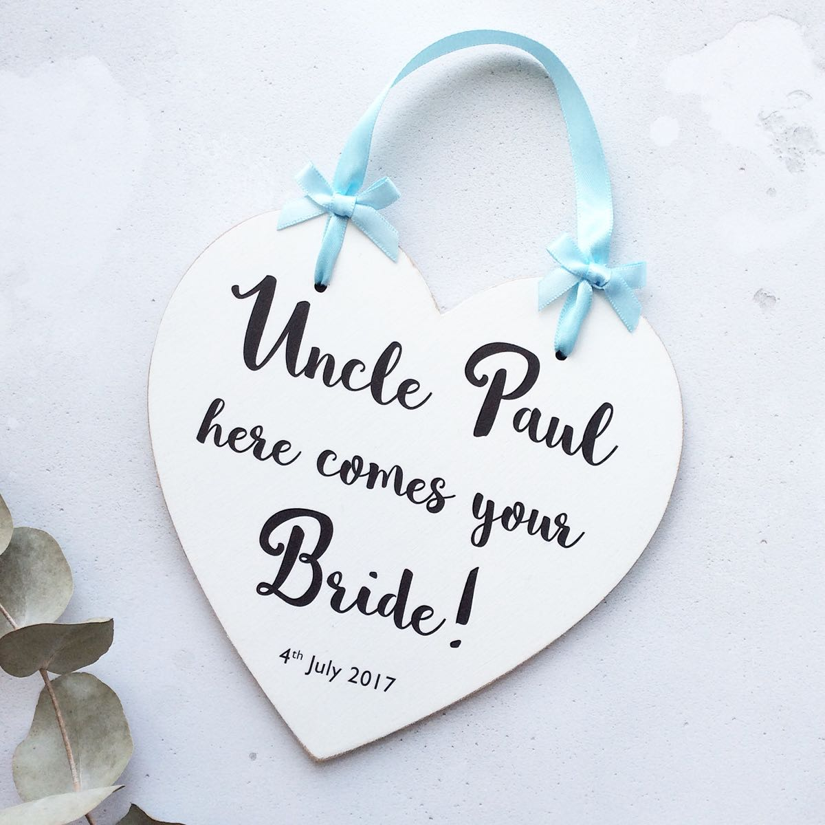 Personalised Here comes Mummy Wedding heart plaque
