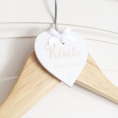 Personalised wedding hanger heart