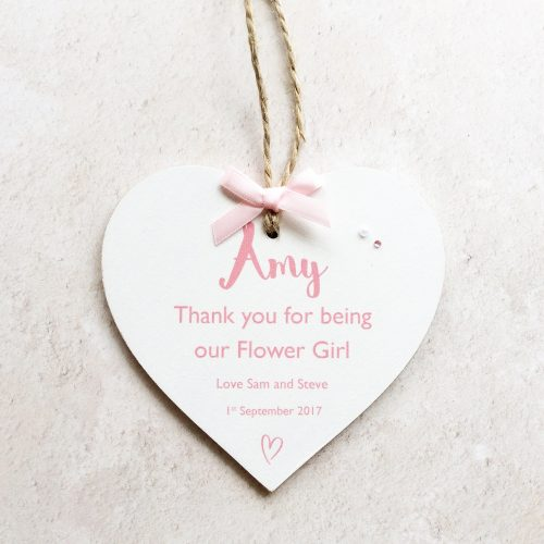 Thank You Flower Girl Page Boy Personalised Wedding Heart