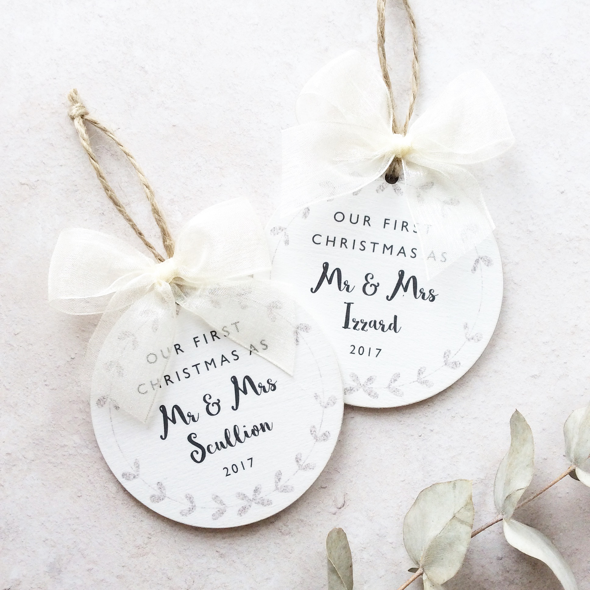 Our First Christmas as Mr & Mrs Personalised Bauble