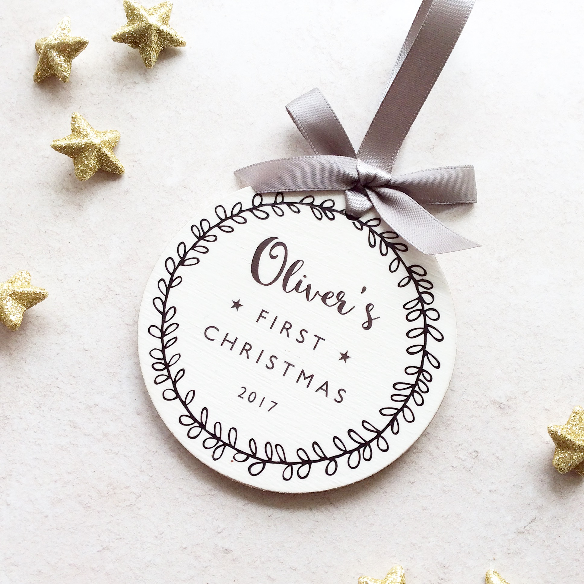 Personalised Baby's First Christmas Bauble – Grey
