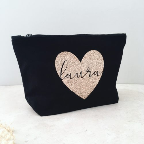 Personalised Black and Rose Gold Makeup Bag