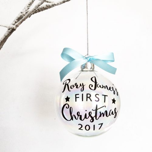 Personalised Baby's First Christmas Glass Christmas Bauble