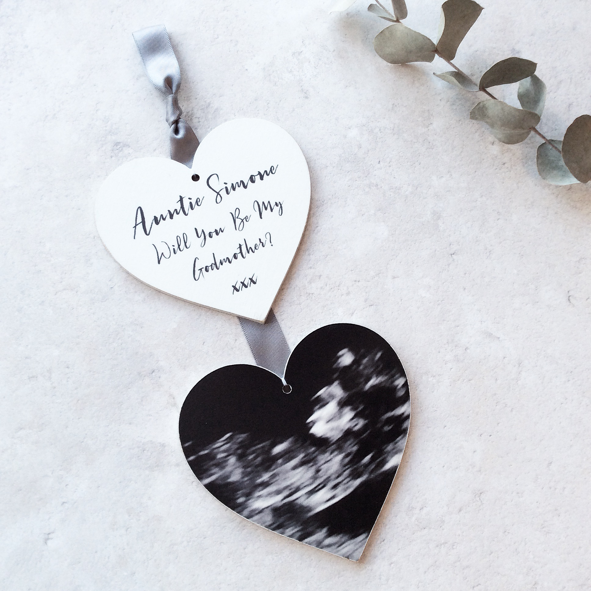 Vertical Wooden Photo Heart Hanging